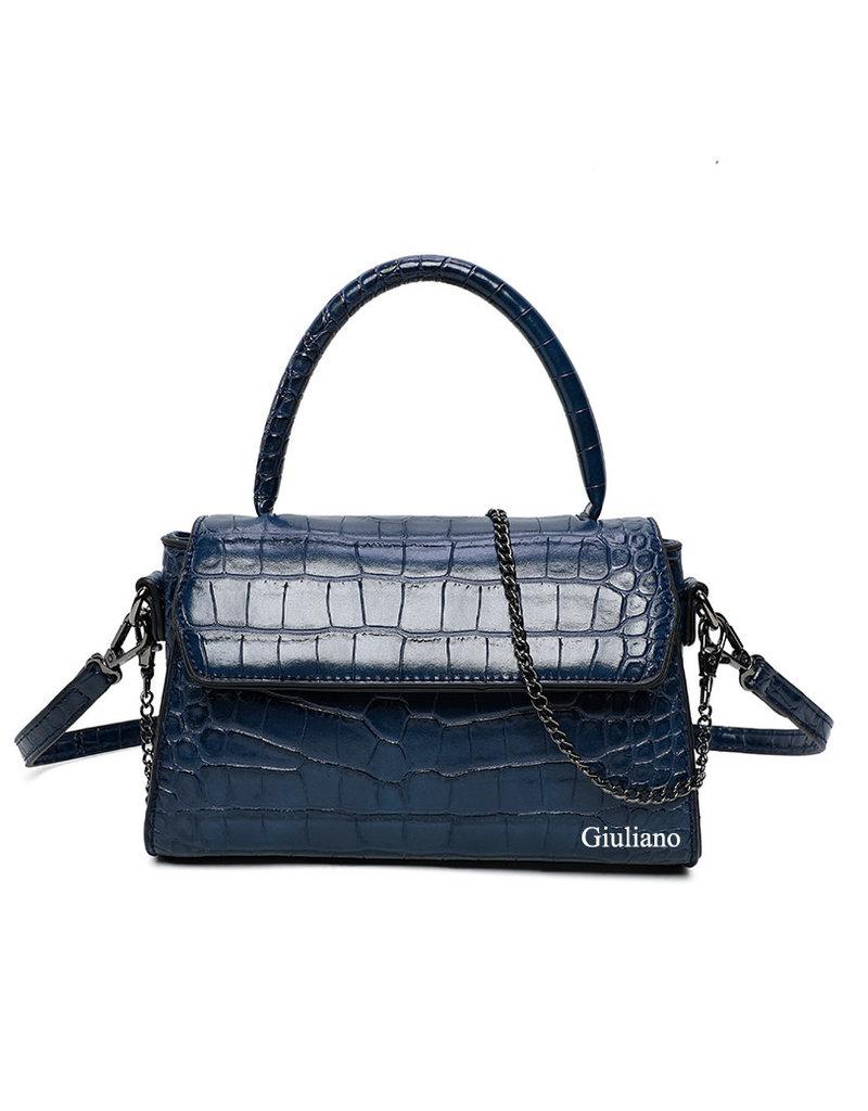 Tas  donkerblauw met een kroko motief.