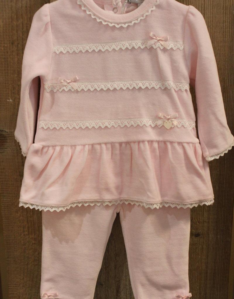 Blues baby Blue wear Jurkje roze velours met wit kant met legging