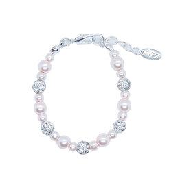Rian Rian Parel armbandje roze  met glitter steentjes