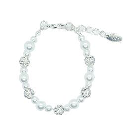 Rian Rian Parel armbandje off white met glitter steentjes
