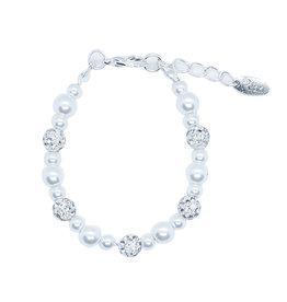 Rian Rian Parel armbandje  wit met glitter steentjes