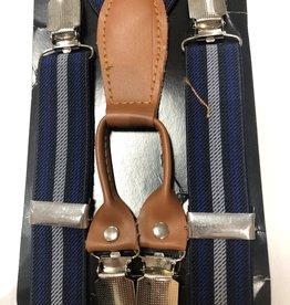 Bretels kobalt blauwe strepen met cognac leer