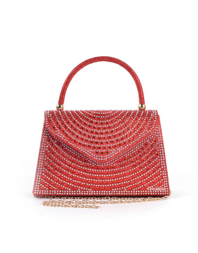 Tas rood glitter met beugel en extra ketting