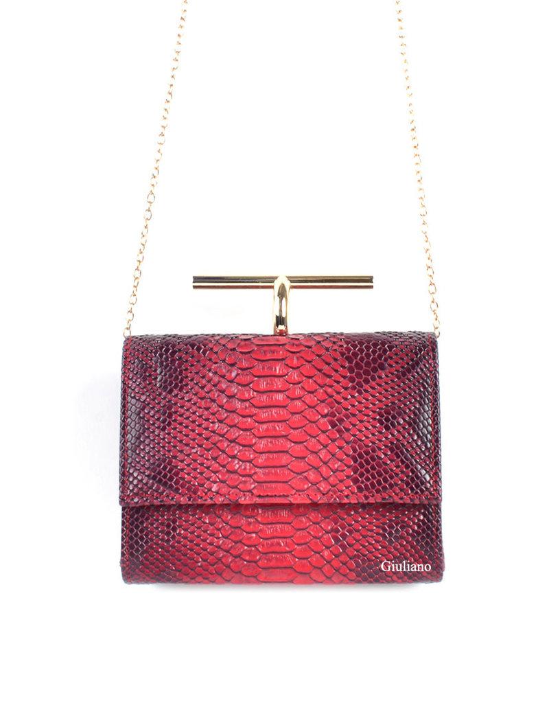 Tas  rood met messing beugel met een kroko motief.