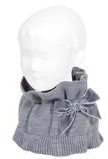 Condor Condor sjaal grijs met fluwelen strik