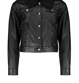 Nobell Nobell Dicky fake leather indoor cardigan+teddy collar Q108-3303 Jet Black