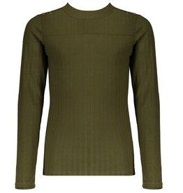 Nobell Nobell Karen l/sl rib tshirt with buttons at shoulder Q108-3401 Army Green