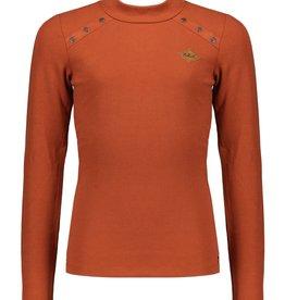 Nobell Nobell Kara l/sl rib tshirt with metal buttons+turtle neck Q108-3402 Piment