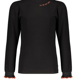 Nobell Nobell Kiss tshirt l/sl with puffed shoulder+small turtle neck Q108-3404 Jet Black