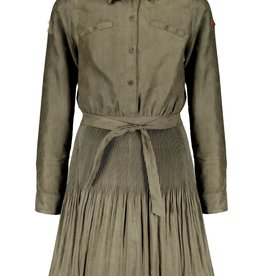 Nobell Nobell Maj suede blouse dress with plissee skirtpart Q108-3804 Army Green