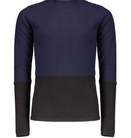 Nobell Nobell Mint colorblock rib tshirt l/sl with ruffled turtle neck and fancy buttons at shoulder Q109-3401 Phantom