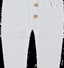 Klein Klein Broekje wit gebreid met houten knoopjes