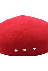 Baret rood met hartjes