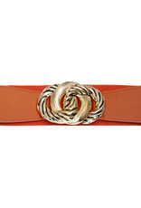 Riem elastisch oranje met gouden gesp