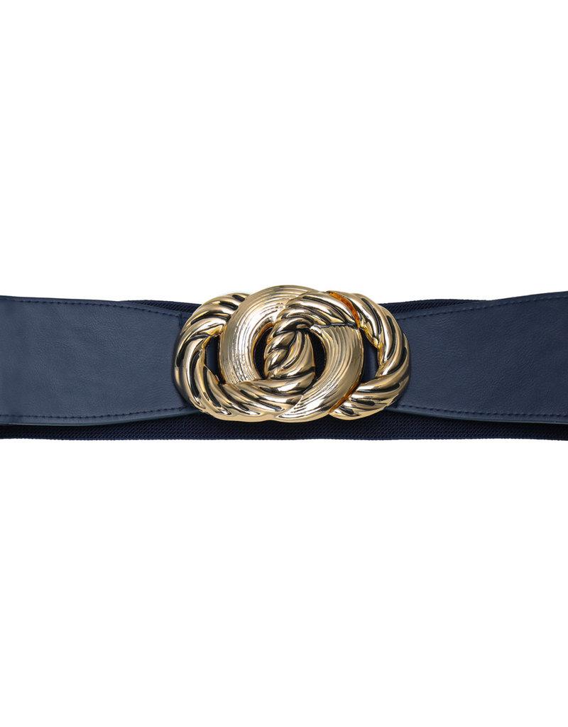 Riem elastisch donkerblauw met gouden gesp