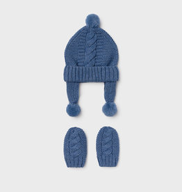 Mayoral Hat and mittens set for newborn born  navy