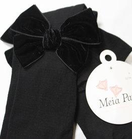 Meia Pata Meia Pata Tights With Double Velvet Bow 05 Black