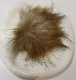 Meia Pata Meia Pata Beret With Natural Sintetic Fur 35 Ivory
