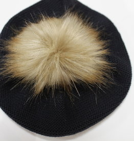 Meia Pata Meia Pata Beret With Natural Sintetic Fur 14 Navy Blue