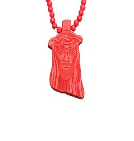 Wood Fellas necklace Jesus red