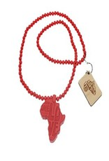 Wood Fellas necklace Africa red