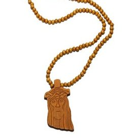 Wood Fellas necklace Jesus tan