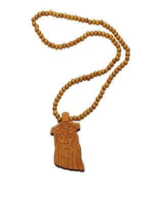 Wood Fellas necklace Jesus tan