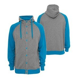 Urban Classics light fleece button Hoody Grey/Türkis