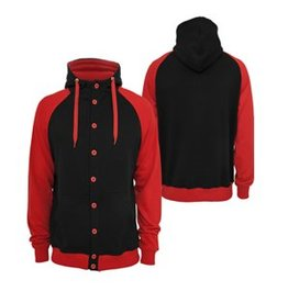 Urban Classics light fleece button Hoody Black/Red
