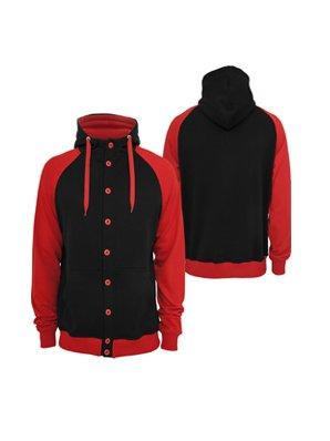 Urban Classics light fleece button Hoody Black/Red