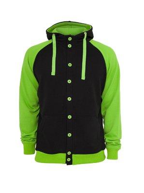 Urban Classics light fleece button Hoody Black/Green