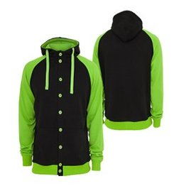 Urban Classics light fleece button Hoody Black/Green