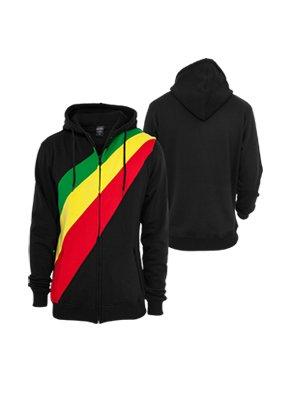 Urban Classics Diagonal Zip Hoody Black/Rasta
