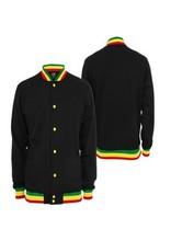 Urban Classics Contrast College Sweatjacket, black/rasta