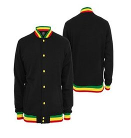 Urban Classics Contrast College Sweatjacket, black/rasta
