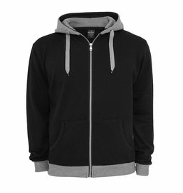 Urban Classics Light Fleece Zip Hoody Black/GRY