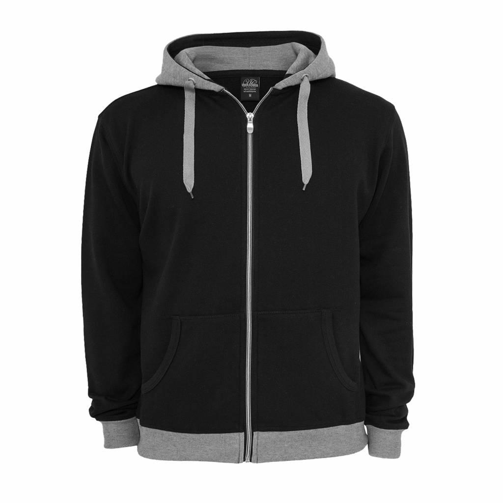Urban Classics Light Fleece Zip Hoody Black/GRY
