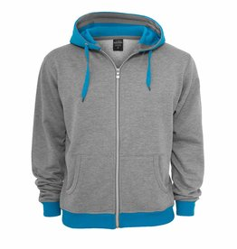 Urban Classics Light Fleece Zip Hoody GRAU/TÜRKIS