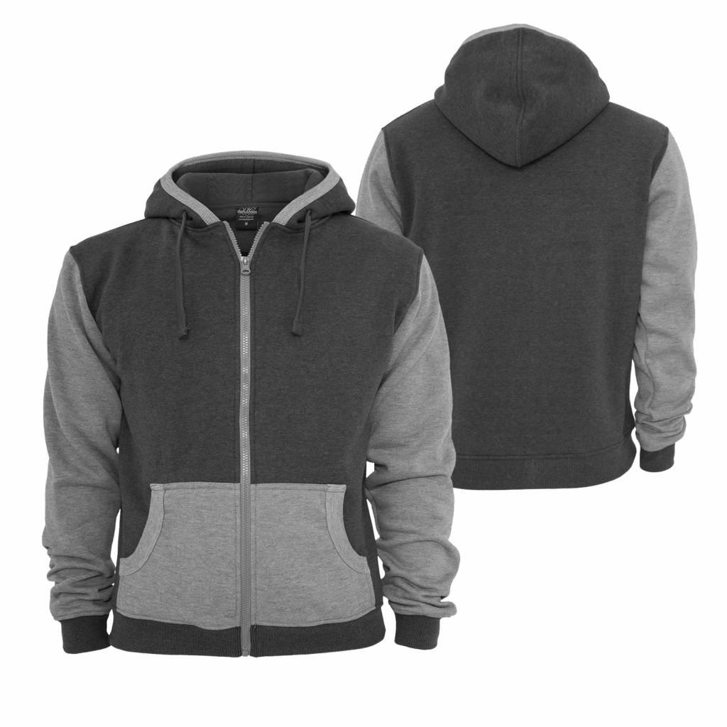 Urban Classics Contrast Zip Hoody Charcol/Grey
