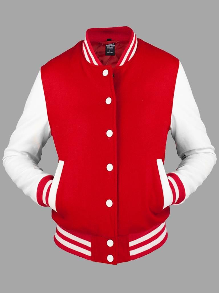 Urban Classics Ladies College Jacket Rot Weiß