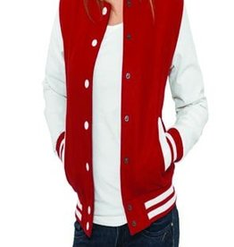 Urban Classics Ladies College Jacket Rot Weiß