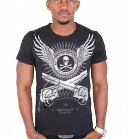 Madmext Men's T-Shirt with motif Short Sleeve Black / White