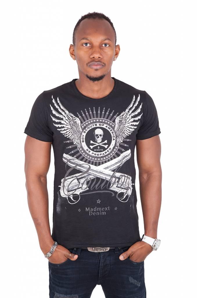 Madmext Men's T-Shirt with motif Short Sleeve Black / White