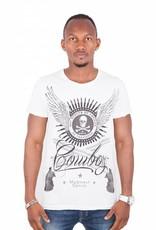 Madmext Tee shirt Homme à motifs Manches Courtes Blanc / Noir