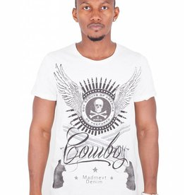 Madmext Men's T-Shirt with motif Short Sleeve White/black