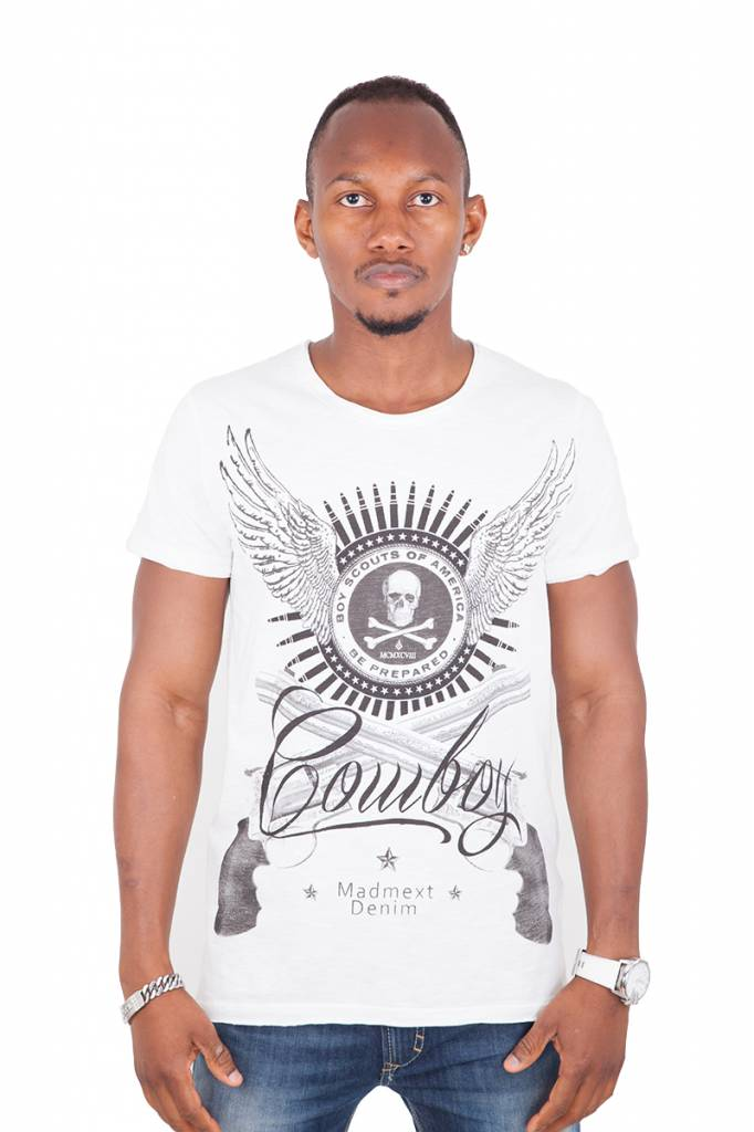 Madmext Men's T-Shirt with motif Short Sleeve White/black
