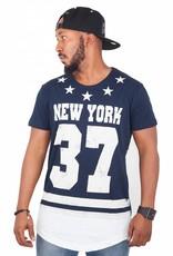 Madmext Herren T-Shirt mit Motiv New York 37 Kurzarm Dunkelblau/Weiß