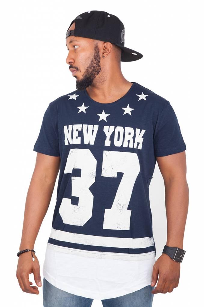Madmext Tee shirt Homme New York 37 Manches Courtes Bleu Foncé / Blanc