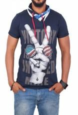 Madmext Tee shirt Homme à motifs Manches Courtes Noir / Blanc