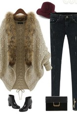 Jaza Fashion Damen Strickjacke Mantel Cardigan Beige/Hellbraun